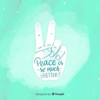 Main faisant le signe de la paix avec style dessiné à la main