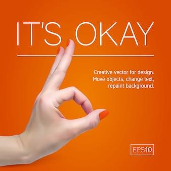 La main féminine avec manucure sur fond orange montre bien.