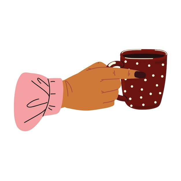 Main féminine avec une tasse de café