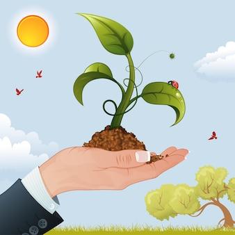 Main de femme d'affaires avec la pousse du sol sur fond de nature, illustration vectorielle