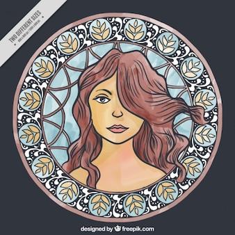 Main femme dessinée portrait avec détails floraux décoratifs