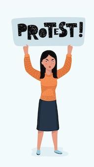 Main de femme tenant une pancarte de piquetage vierge. signe de protestation vide. concept de sollicitation du vote de la révolution. illustration vectorielle dans un style plat pour une bannière ou une affiche de mer+