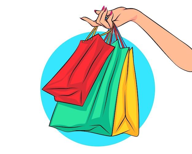 Main de femme tenant des sacs à provisions shopping concept pop art comic style