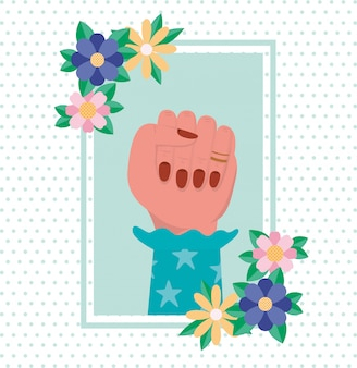 Main avec des fleurs et des feuilles de vecteur d'autonomisation des femmes