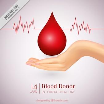 Main avec un fond de goutte de sang