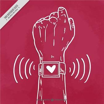 Main avec un fond smartwatch