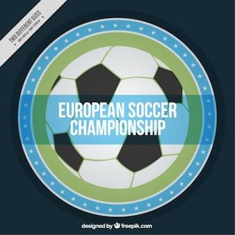 Main de football dessinée badges euro fond