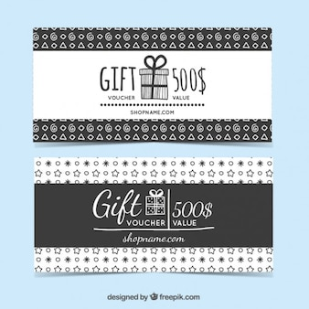 Main formes dessinées chèque cadeau ensemble