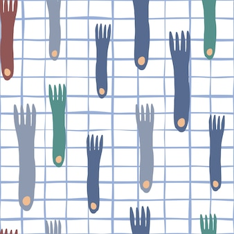 Main de la fourche dessiner un modèle sans couture sur fond de rayures dans un style scandinave minimal