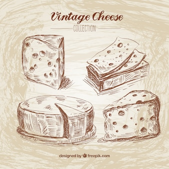 Main fromage dessiné dans le style vintage