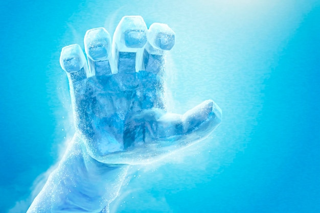 Main gelée dans l'illustration 3d sur le bleu, effet de sculpture de glace
