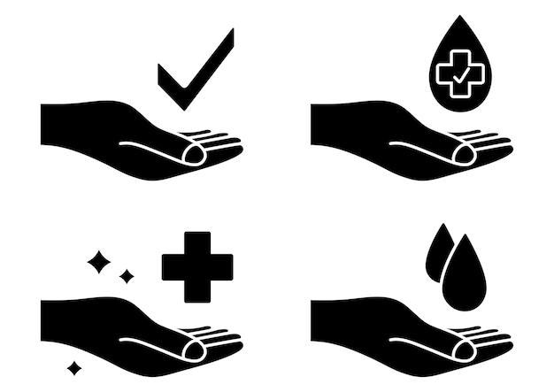 Main avec goutte d'eau et croix médicale symbole de lavage des mains icônes antibactériennes signe de soins de la peau
