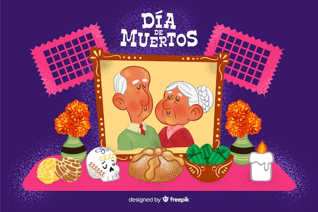 Main de grands-parents perdus dessiné día de muertos