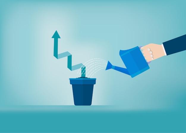 Main d'homme d'affaires arrosant le graphique croissant dans le pot. concept de démarrage d'entreprise. succès, carrière, réalisation, illustration vectorielle à plat