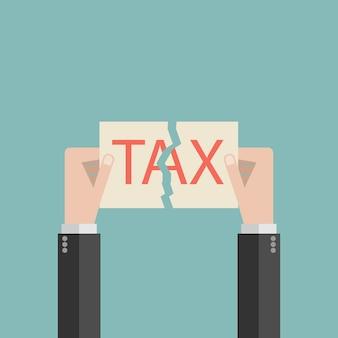 Main de l'homme d'affaires déchirer avec la taxe