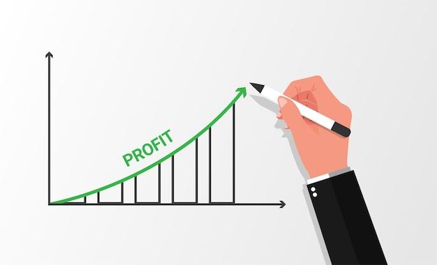 Main d'homme d'affaires dessin graphique augmentation des bénéfices