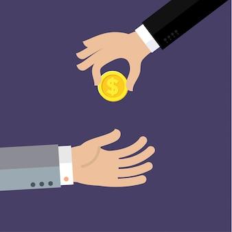 Main d'homme d'affaires donnant de l'argent