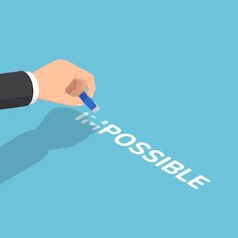 Main d'homme d'affaires isométrique plat 3d changeant le mot impossible à possible par gomme. solution d'affaires et concept de motivation.