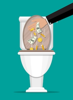 Main d'homme d'affaires mettant des billets d'un dollar dans les toilettes