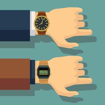 Main d'homme d'affaires avec une montre au poignet. gagnez du temps, concept de ponctualité. montre-bracelet d'affaires, huma