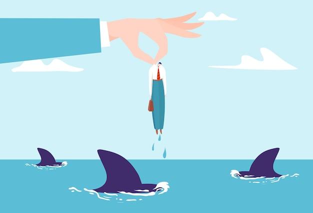 Main d'homme d'affaires avec petit personnage de femme d'affaires au-dessus de l'illustration plate de l'océan