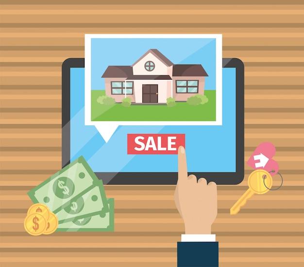 Main d'homme d'affaires avec tablette et vente de maison