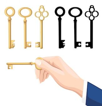 Main d'homme d'affaires tenant la clé. touches dorées et noires sur fond. illustration sur fond blanc. page du site web et application mobile