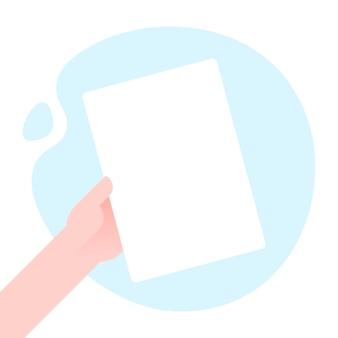 Main d'homme d'affaires tenant une illustration vectorielle de modèle vide de maquette de papier, liste de feuilles vierges a4 sans texte, concept d'attention, design plat de cadre d'annonce sur fond de forme abstraite moderne.