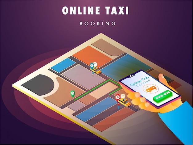 Main de l'homme réservant un taxi en utilisant l'application mobile.