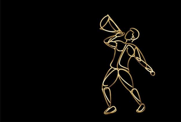 Main de l'homme tenant l'icône d'or mégaphone concept d'annonce d'entreprise, illustration vectorielle.