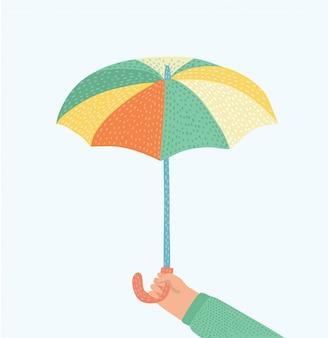 Main d'homme tenant un parapluie. illustration. icône de parapluie.