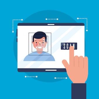 Main avec homme à visage scanné
