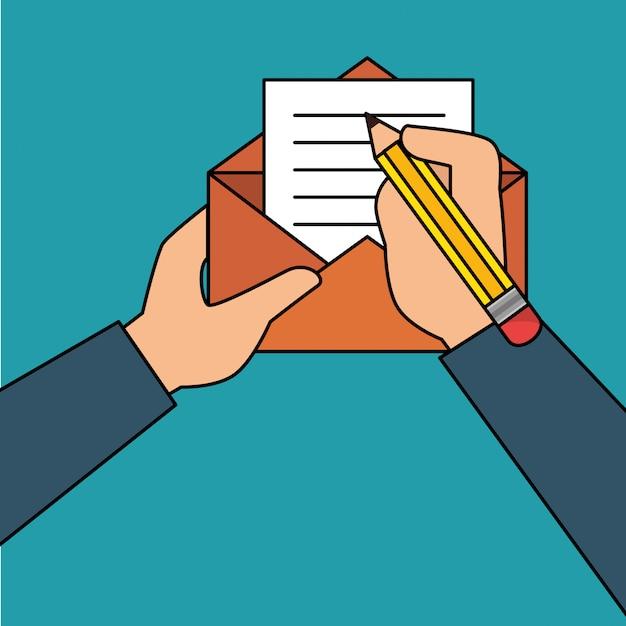 Main humaine avec enveloppe