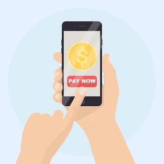 Main humaine tenant un téléphone mobile avec illustration de l'application bancaire