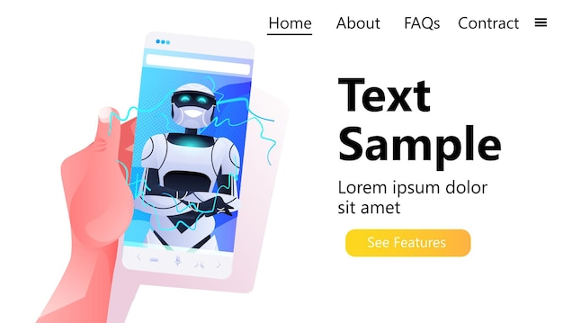 Main humaine utilisant un smartphone avec un robot sur un écran de smartphone concept d'intelligence artificielle de caractère robotique moderne