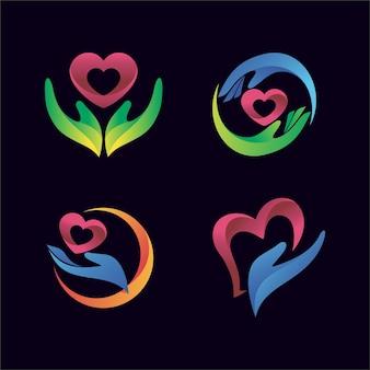 Main avec l'icône de coeur pour le logo de santé et de clinique