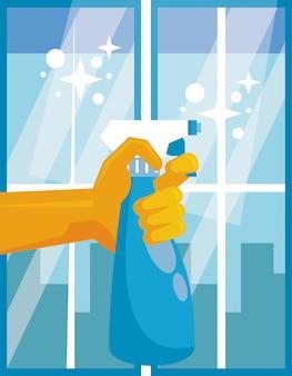 Main avec l'icône de désinfectant pour le vaporisateur splash