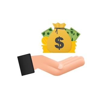 Main avec des icônes de finances de billet et de pièce de monnaie de sac d'argent. investissement financier des entreprises. fond de vecteur.