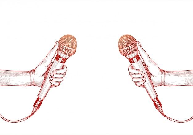 Main avec illustration de croquis coloré microphone