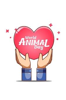 Main avec illustration de dessin animé de texte de la journée mondiale des animaux