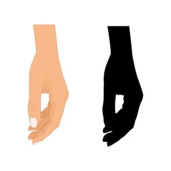 La main avec l'illustration du doigt pointé, les doigts pointés, les mains dessinées à la main sur fond blanc, la silhouette de la main du doigt pointé