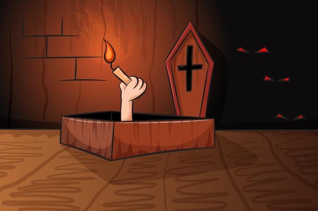 La main avec une illustration sombre de la bougie