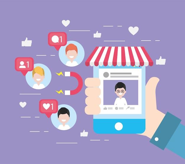 Main avec les informations sociales du site smartphone