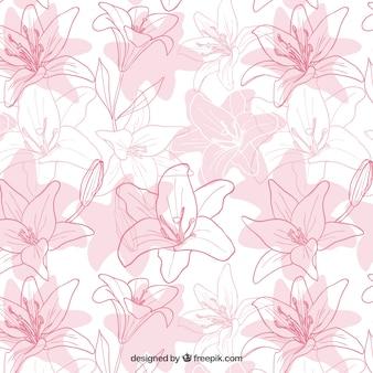 Main iris tirées motif de fleurs