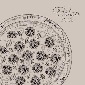 Main italienne pizza dessiné italien
