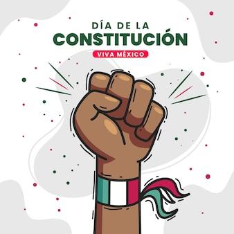 Main de jour de constitution mexicaine dessinée