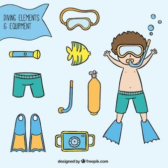 Main kid dessiné avec des éléments de plongée