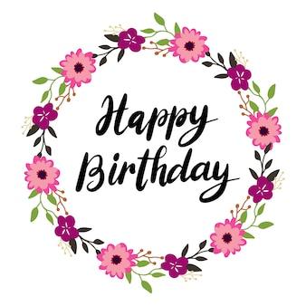 Main, lettrage, joyeux anniversaire, fleur, illustration