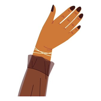 Main levée avec des ongles noirs