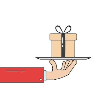 Main linéaire en costume tenant une boîte-cadeau sur un plat. concept de noël, bonus, événement, crm, subvention, gratitude, souhait, crédit, courrier, remise. illustration vectorielle de style plat design graphique sur fond blanc
